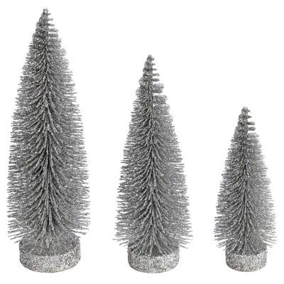 Vickerman Glitter Oval Pine Artificial Christmas Tree Set of 3