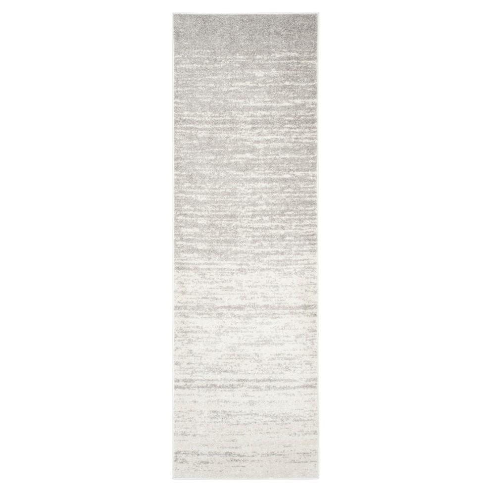 Ivory/Silver Solid Loomed Runner 2'6X16' - Safavieh