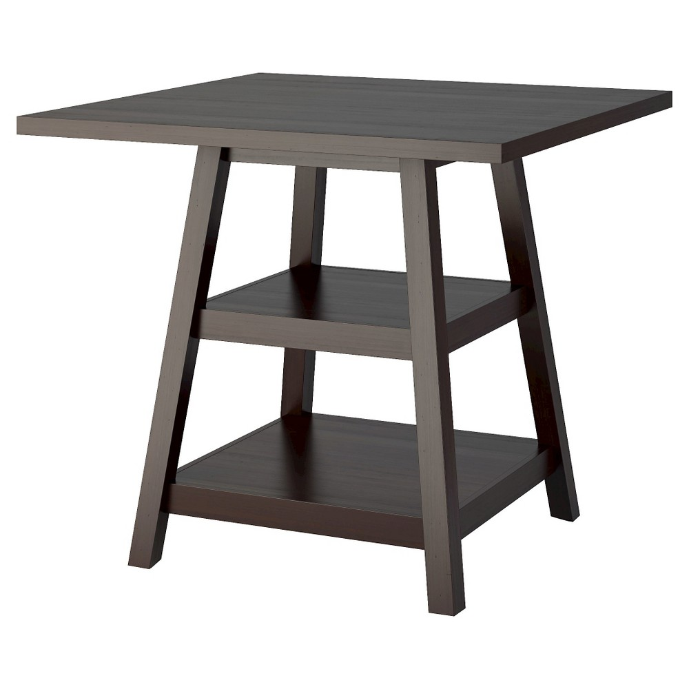 Bistro 36 Counter Height Dining Table with Shelves Wood/Cappuccino - CorLiving, Dark Cappuccino