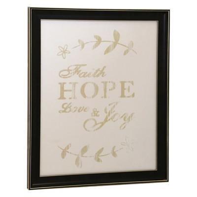 21.6  Love Quote Framed Canvas Print Leaf Decorative Wall Art Black - StyleCraft