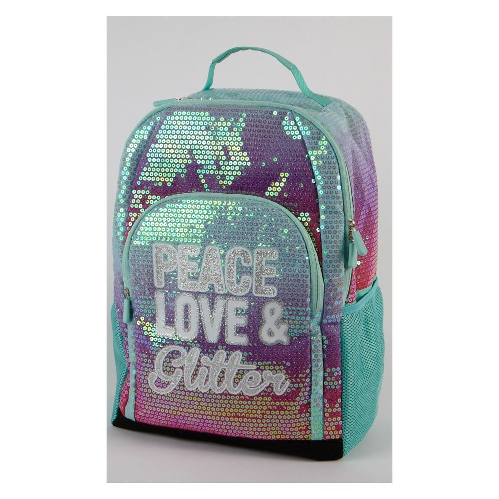 Image of 20 Peace, Love, & Glitter Ombre Backpack, Multi-Colored