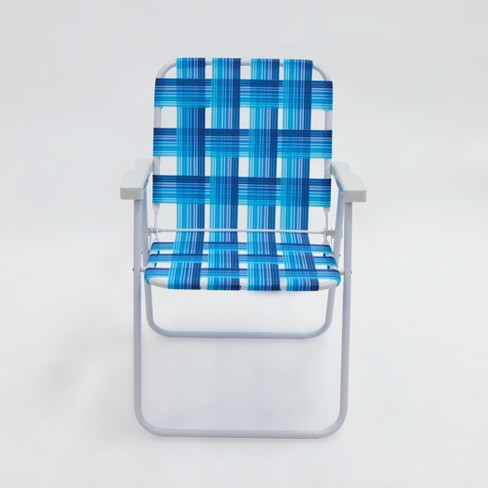 Outdoor Portable Beach Chair - Blue Plaid - Evergreen - image 1 of 2