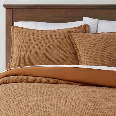 King Washed Waffle Weave Duvet Cover & Sham Set Caramel - Threshold™