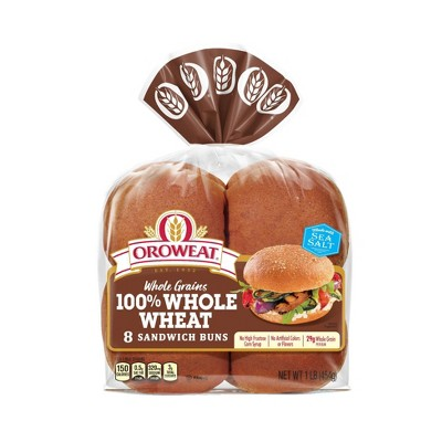 Oroweat 100%Whole Wheat Hamburger Buns - 16oz