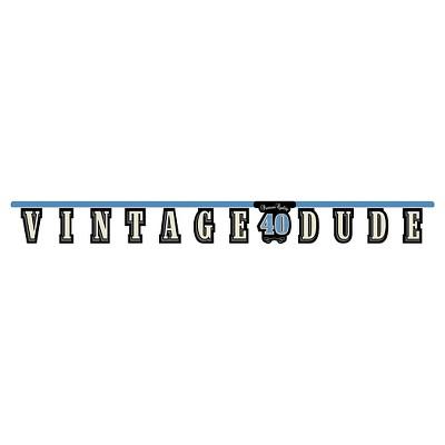 Vintage Dude 40th Birthday Banner