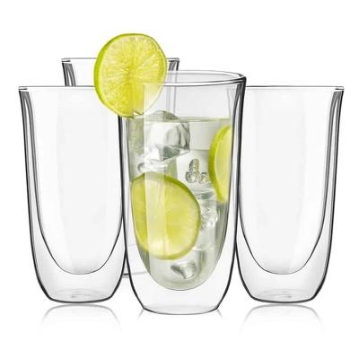 JoyJolt Spike Double Wall Glass - Set of 4 Cocktail Beer Highball Drinkware Glass -13.5-Ounces
