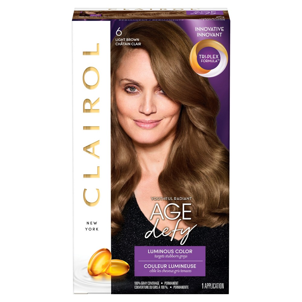 Image of Clairol Age Defy Permanent Hair Color - 6 Light Brown - 1 kit