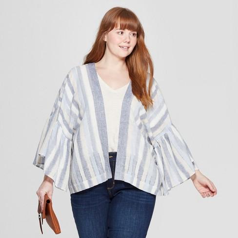 Women's Plus Size Kimono - Universal Thread™ Blue/White - image 1 of 2