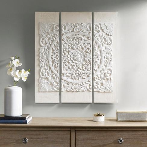 Wooden Mandala 3d Embellished Canvas 3pc Decorative Wall Art Set White