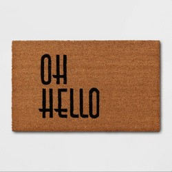 "1'6""x2'6"" Oh Hello Doormat Black - Threshold™"