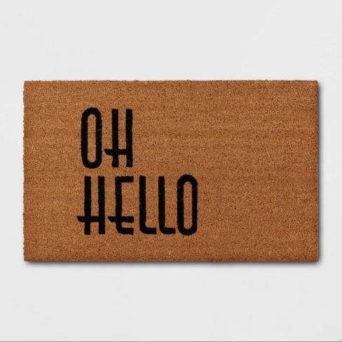 "1'6""x2'6"" Oh Hello Doormat Black - Threshold™ - image 1 of 4"