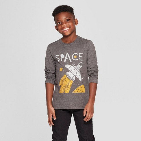 2ce1c59a Boys' Long Sleeve Space Graphic T-Shirt - Cat & Jack™ Charcoal : Target