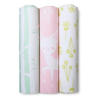 Muslin Swaddle Blankets Forest Frolic 3pk - Cloud Island™ - Pink