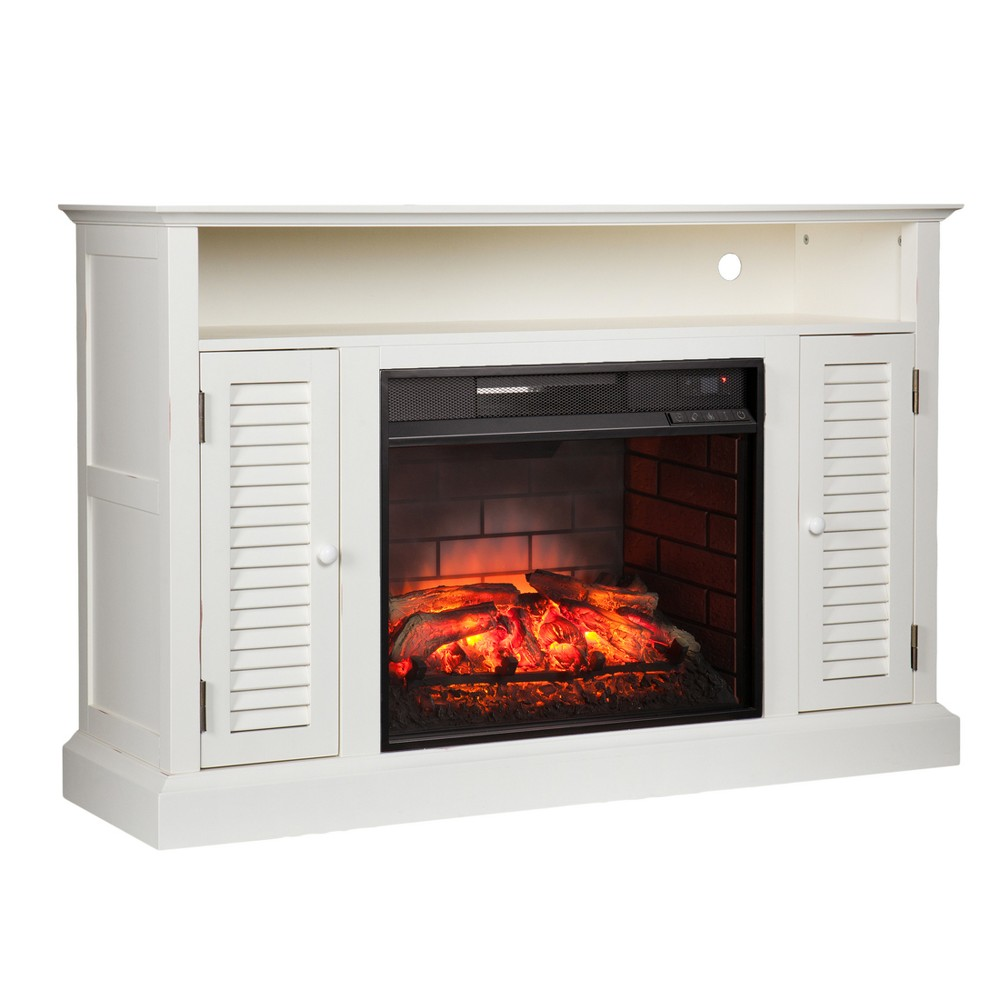 Aubrey Infrared Electric Media Fireplace - Antique White - Aiden Lane