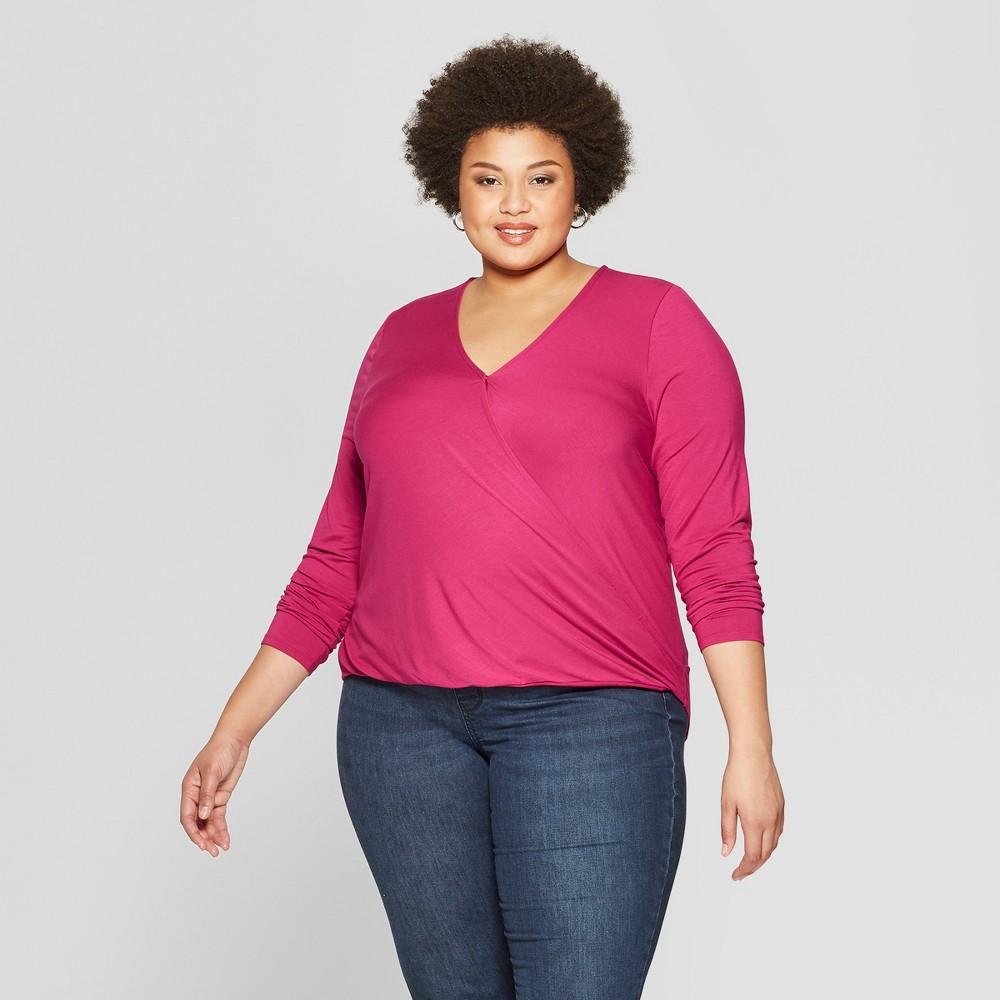 1bdc4cfcdd013e Womens Plus Size Long Sleeve V Neck Top Ava Viv Pink 4X