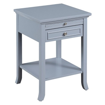 American Heritage Logan End Table with Drawer and Slide Gray - Breighton Home