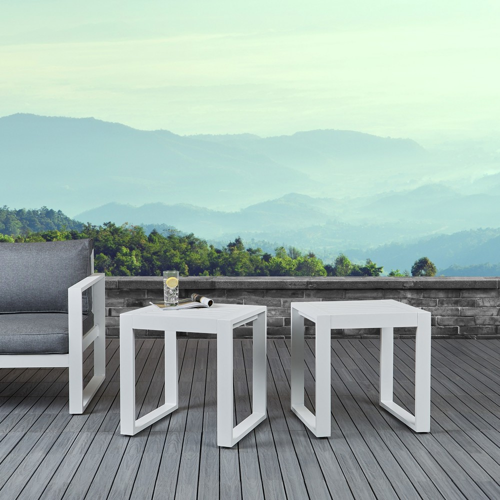 Image of Baltic Set of 2 End Tables White - Real Flame