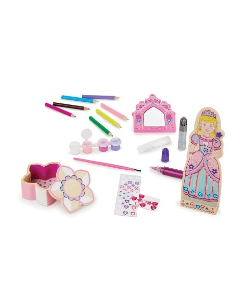 Melissa & Doug® Decorate-Your-Own Wooden Princess Set Craft Kit - Doll, Treasure Box, and Mirror - image 1 of 5