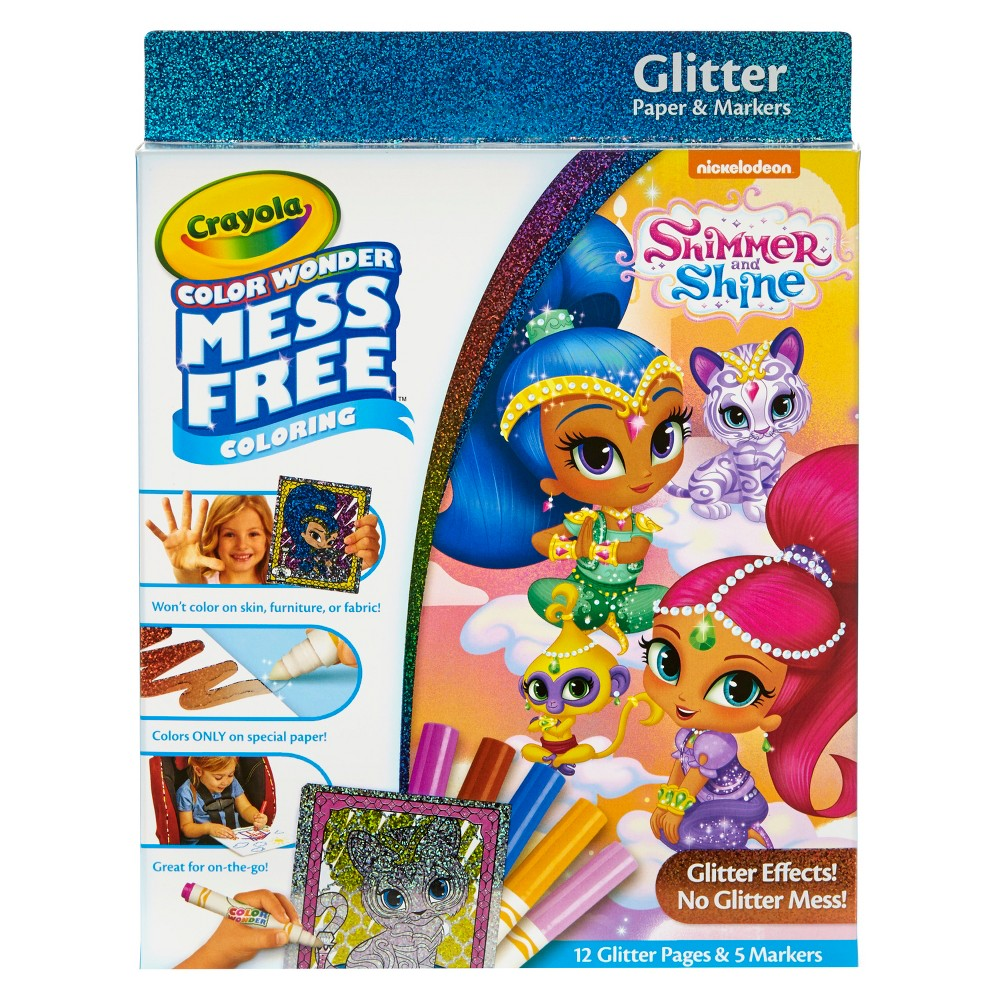 Image of Crayola Color Wonder Shimmer & Shine, Glitter Art & No Mess Markers, Mess Free Coloring, 17pc