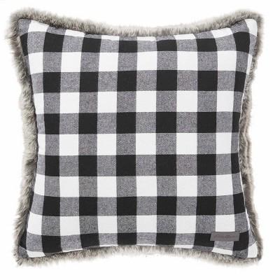 Cabin Plaid Faux Fur White Square Throw Pillow - Eddie Bauer