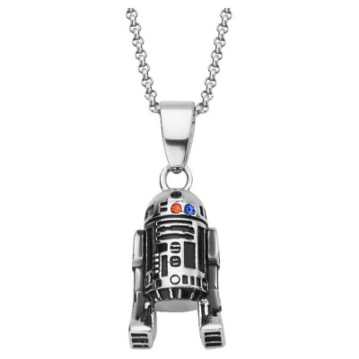 Women's 'Star Wars' R2-D2 925 Sterling Silver Pendant with Chain and Blue/Red CZ (18 )
