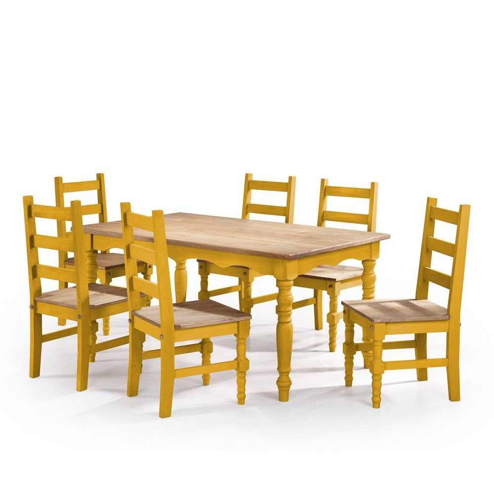 7pc Jay Solid Wood Dining Set Wash Yellow - Manhattan Comfort