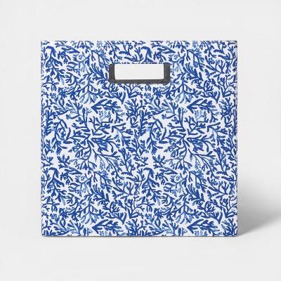 "13"" Fabric Cube Storage Bin Cobalt Blue Pattern - Threshold™"