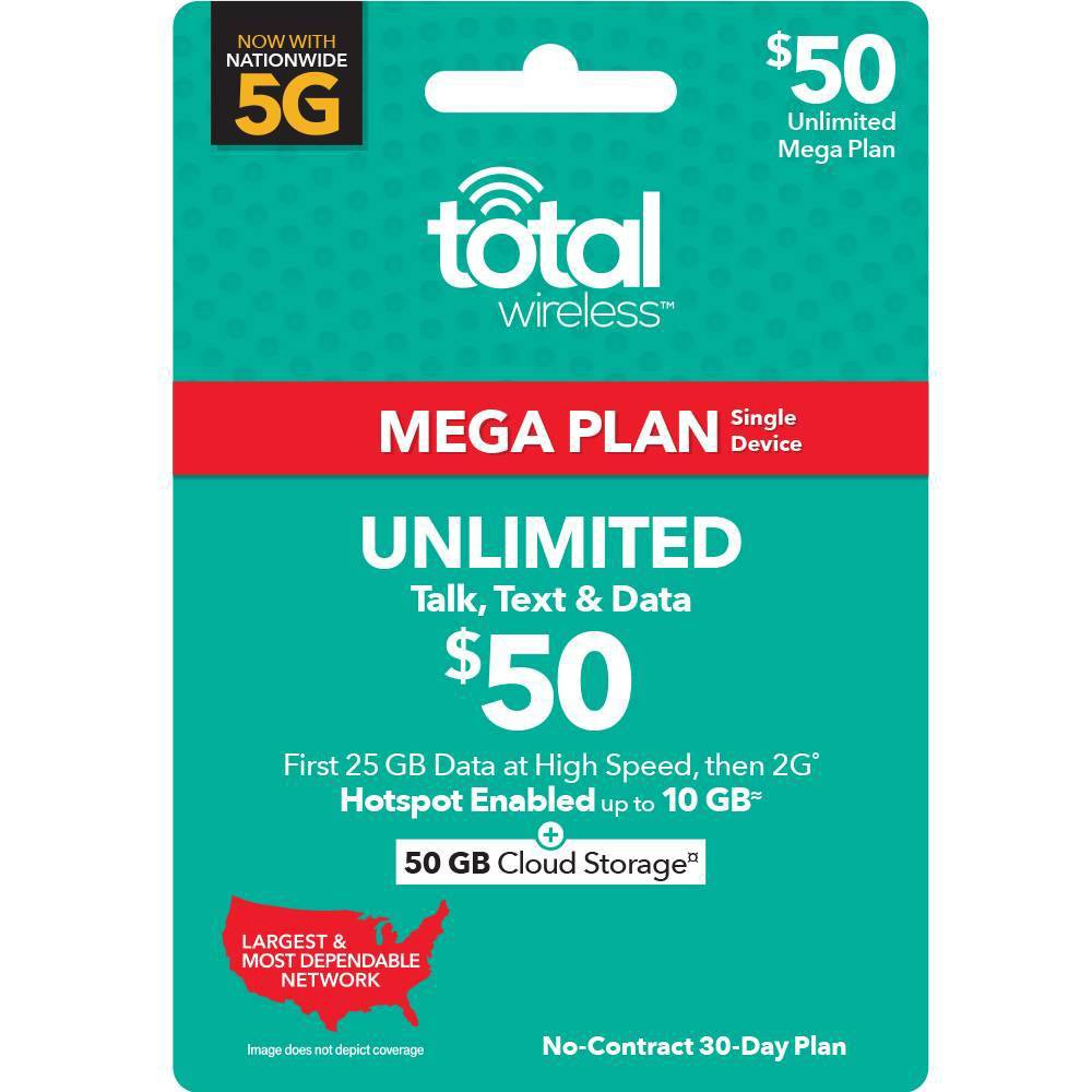 Total Wireless Unlimited Single Device 30 Day Plan Email Delivery 50