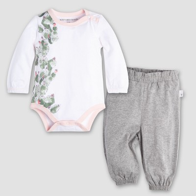 Burt's Bees Baby Girls' Organic Cotton Climbing Cactus Bodysuit & Pant Set - Cloud 0-3M