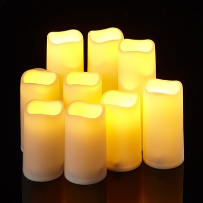 Lakeside Flameless White LED Pillar Candles with Remote Control - Set of 9