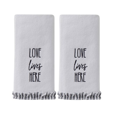2pc Love Lives Here Hand Towel Natural - SKL Home