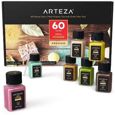 Arteza Mica Powder Art Supply Set, 0.18 oz (5g), Small Bottles - 60 Pack (ARTZ-9205)