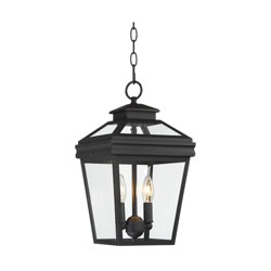 """John Timberland Traditional Outdoor Ceiling Light Hanging Black Lantern 16 1/2"""" Clear Glass for Exterior House Porch Patio Deck"""