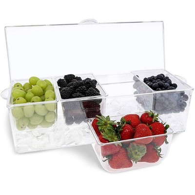 Clear Chilled Condiment Caddy Server Container With Lid, 16 X 6 X 4.5 Inches