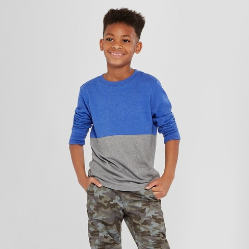Boys' Long Sleeve T-Shirt - Cat & Jack™ Blue/Gray XS - image 1 of 3