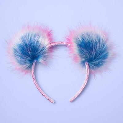 Girls' Pom Ear Headband - More Than Magic™ Pink/Blue