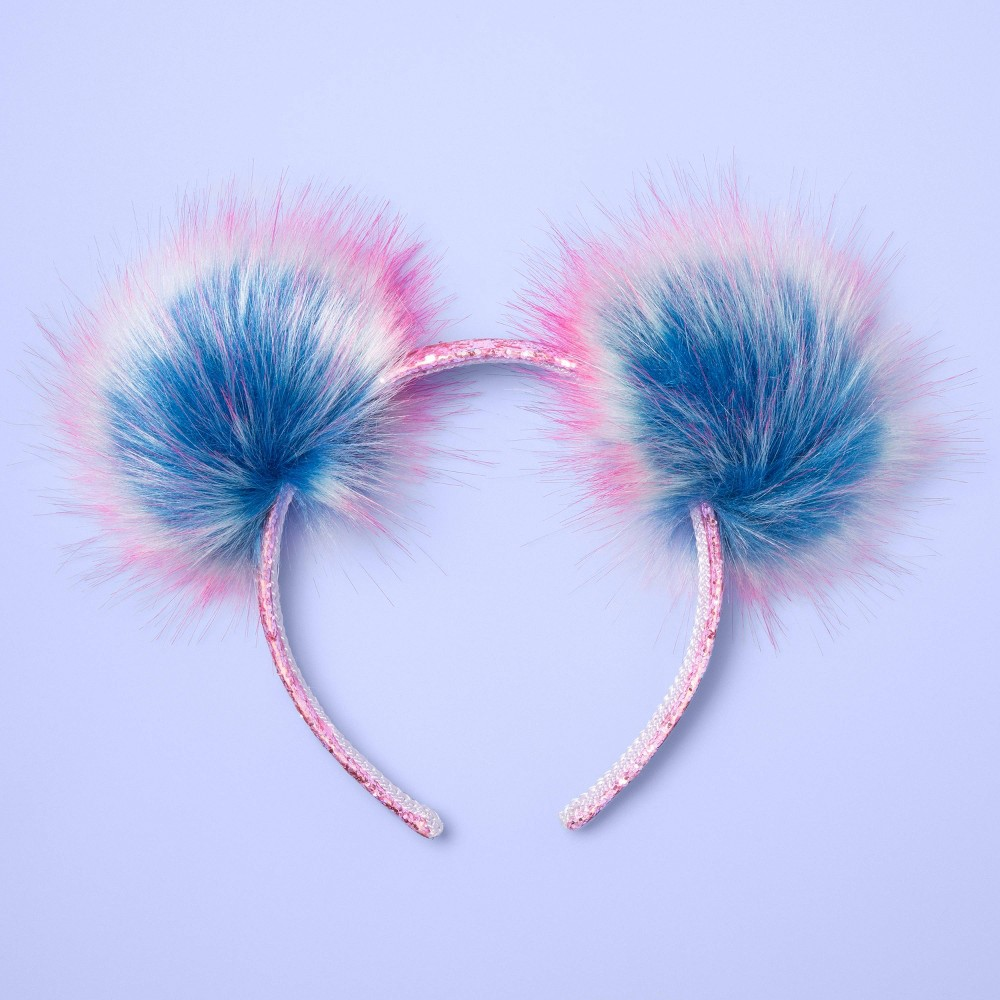 Image of Girls' Pom Ear Headband - More Than Magic Pink/Blue, Girl's, Pink Multicolored