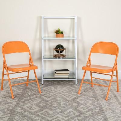 Flash Furniture 4 Pack HERCULES COLORBURST Series Triple Braced & Double Hinged Metal Folding Chair