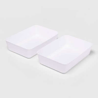 2pk Large Storage Trays White - Room Essentials™
