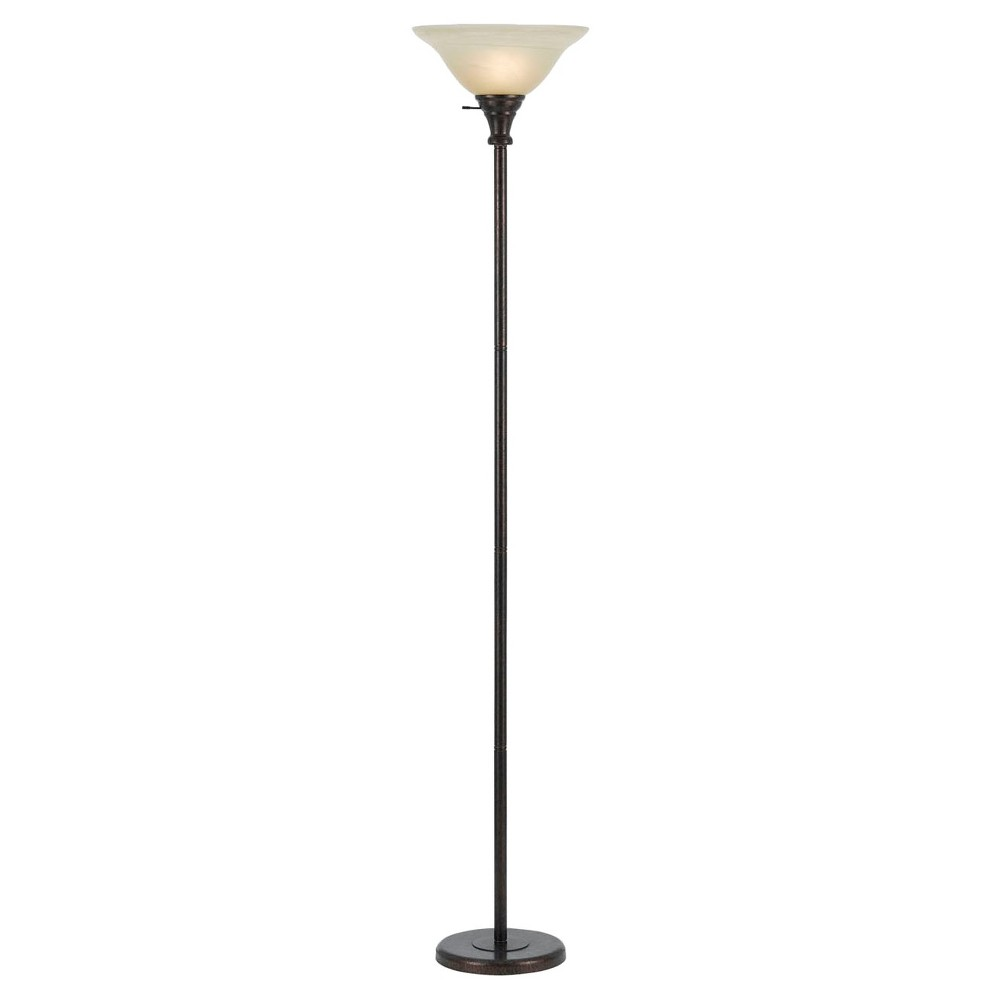 Image of 3-way Rust finish Metal Torchiere with Glass Shade - Cal Lighting