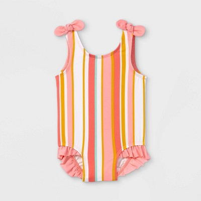 Baby Girls' Striped One Piece Swimsuit - Cat & Jack™ Coral