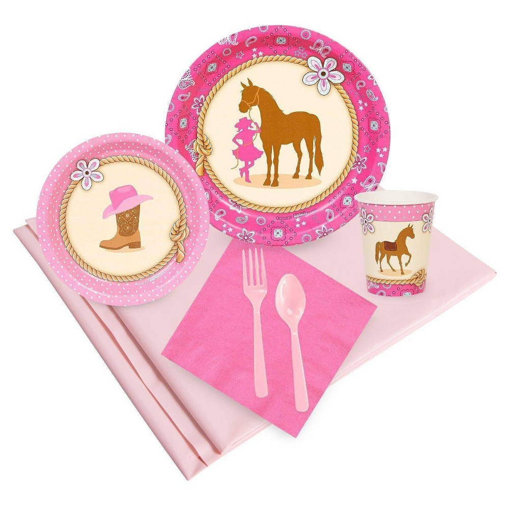 Image of 24ct Western Cowgirl Pink Party Pack