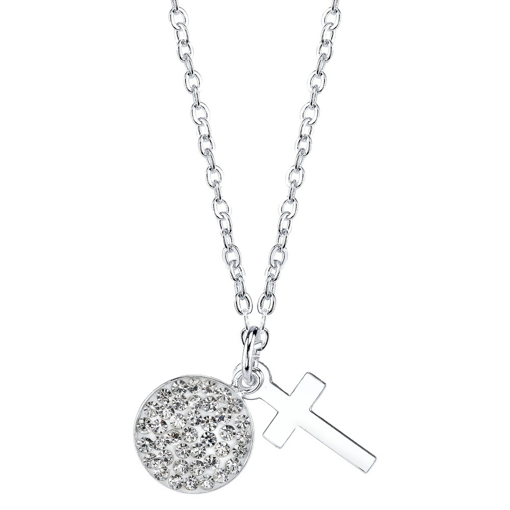 2-Piece Silver Plated Pendant Cross Pave - Silver, Women's