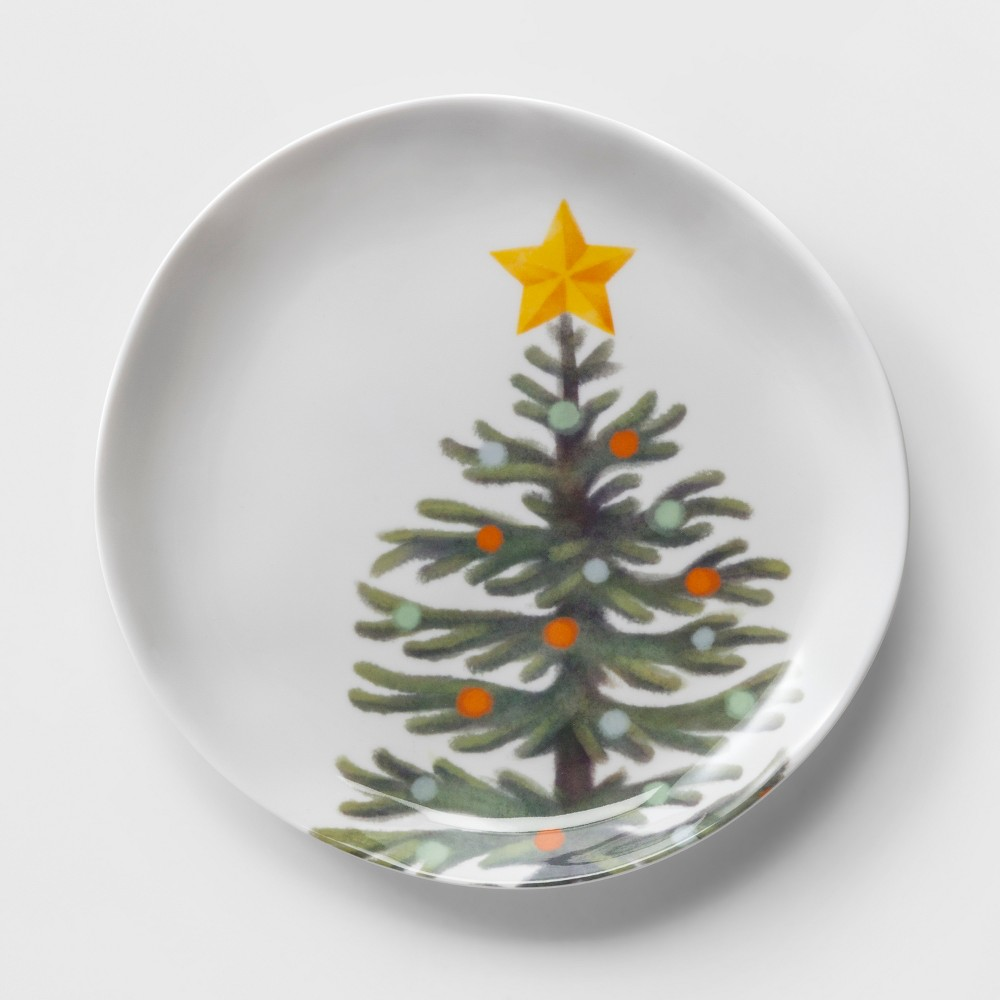 10.5 Plastic Christmas Tree Dinner Plate White/Green - Wondershop