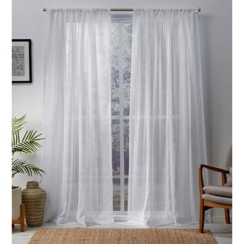 Exclusive Home Santos Embellished Stripe Textured Linen Sheer Rod Pocket Window Curtain Panel Pair - image 1 of 5