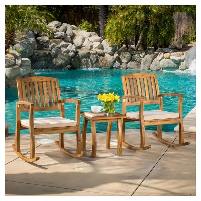 Selma 3pc Acacia Wood Rocking Chair w/ Cushion & Acacia Side Table - Teak - Christopher Knight Home