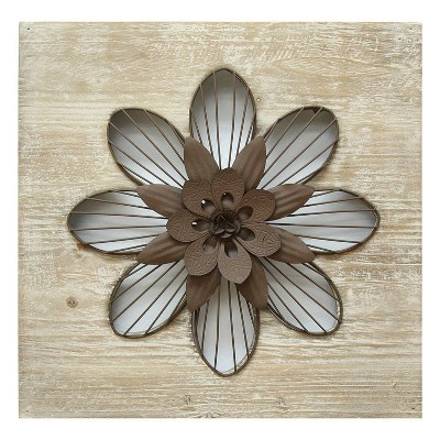 "14"" x 14"" Rustic Flower Wall Decor Natural/Espresso - Stratton Home Décor"