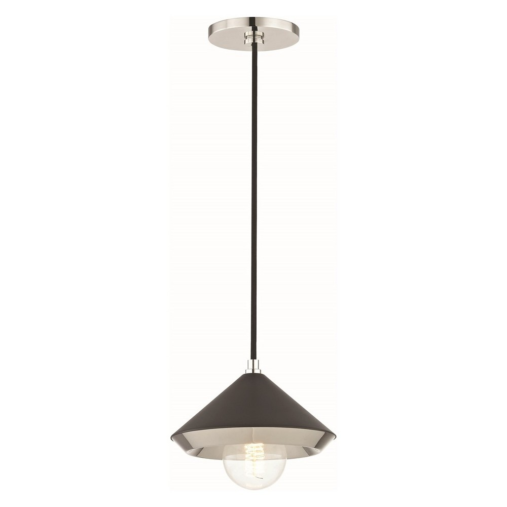 1pc Marnie Small Light Pendant Black/Brushed Nickel - Mitzi by Hudson Valley