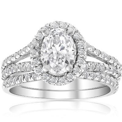 Pompeii3 1.75Ct Diamond & Oval Moissanite Engagement Wedding Ring Set 14k White Gold