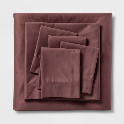 King 6pc 800 Thread Count Solid Sheet Set Mauve - Threshold Signature™
